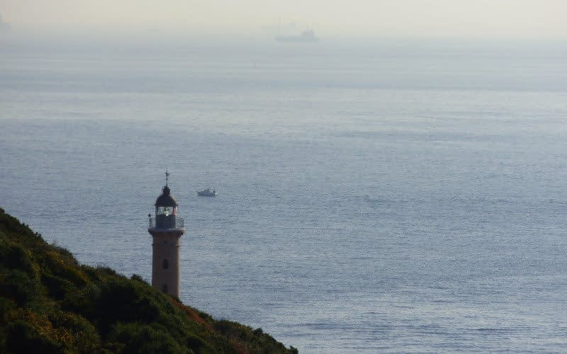 The Strait of Gibraltar separates the Atlantic Ocean and the Mediterranean Sea. Punta Carnero lighthouse